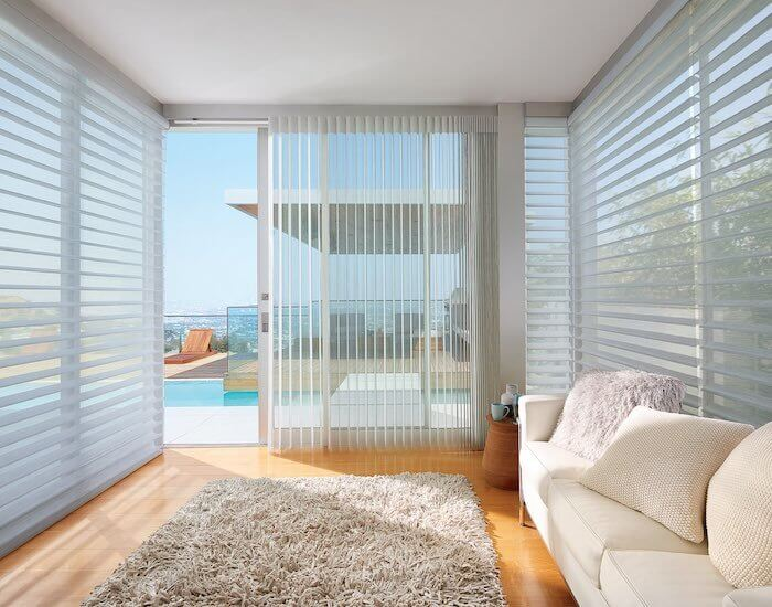 Luminette® Privacy Sheers (on sliding door) and Silhouette® Window Shadings